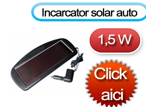 Incarcator auto solar - putere 1.5 W